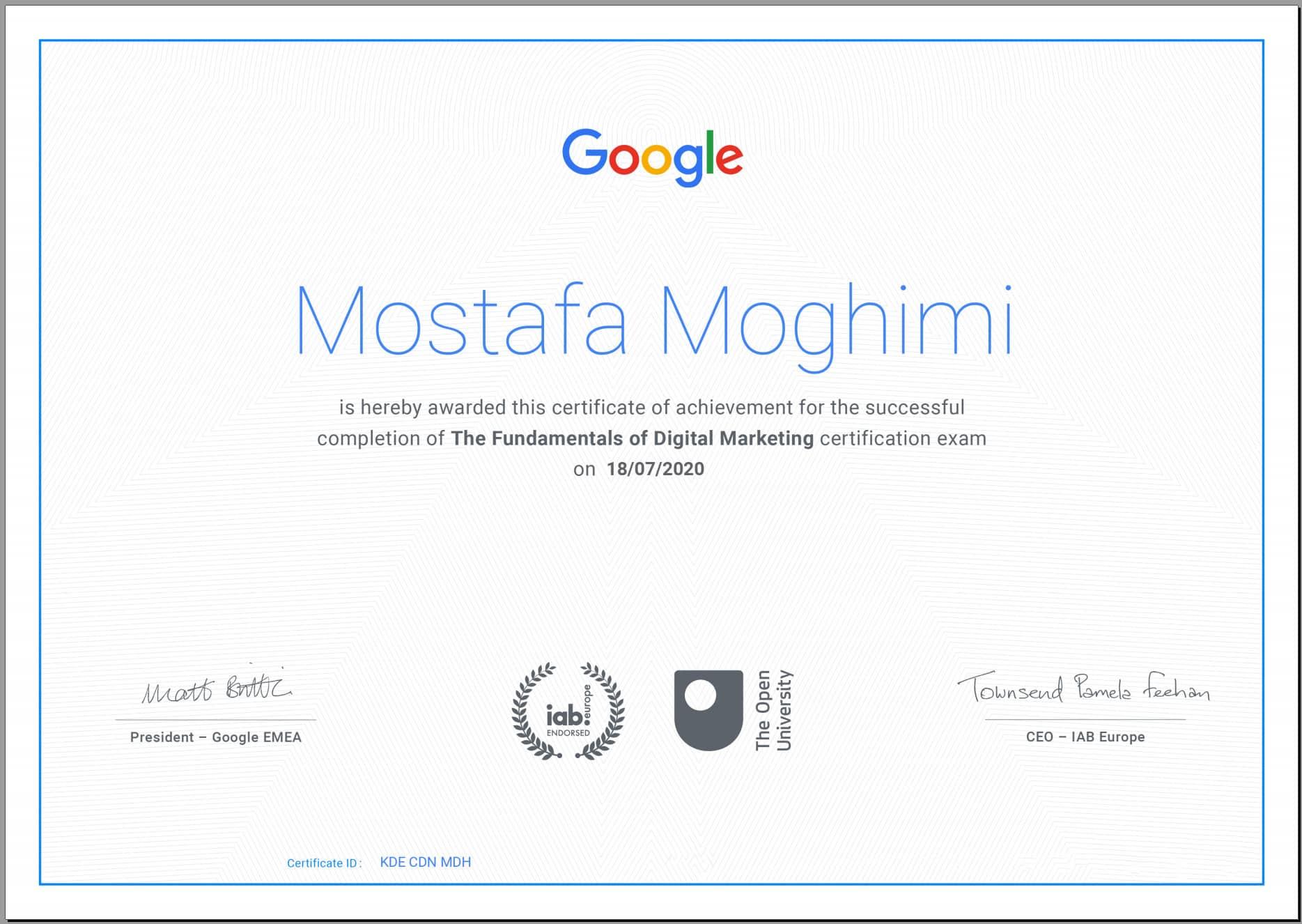 مدرک دیجیتال مارکتینگ از شرکت گوگل